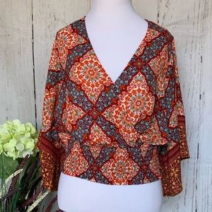 Twine & String Boho Front Wrap Bell Sleeve Top
